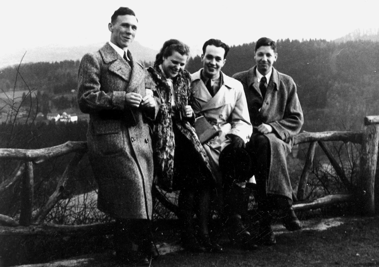 Adolf Luther with fellow students, 1943